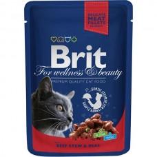 Brit Premium Pouch Рагу из говядины с горохом для взрослых кошек