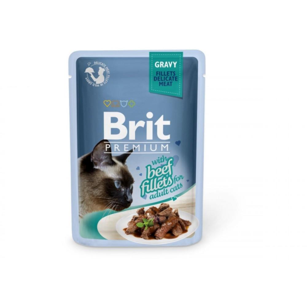Корм для котов Brit Premium Cat pouch Филе говядины в соусе 85 g