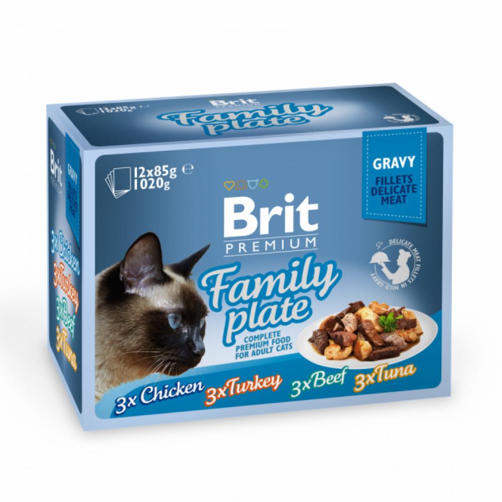 Влажный корм для кошек Brit Premium Cat pouch Семейная тарелка в соусе 12шт х 85g