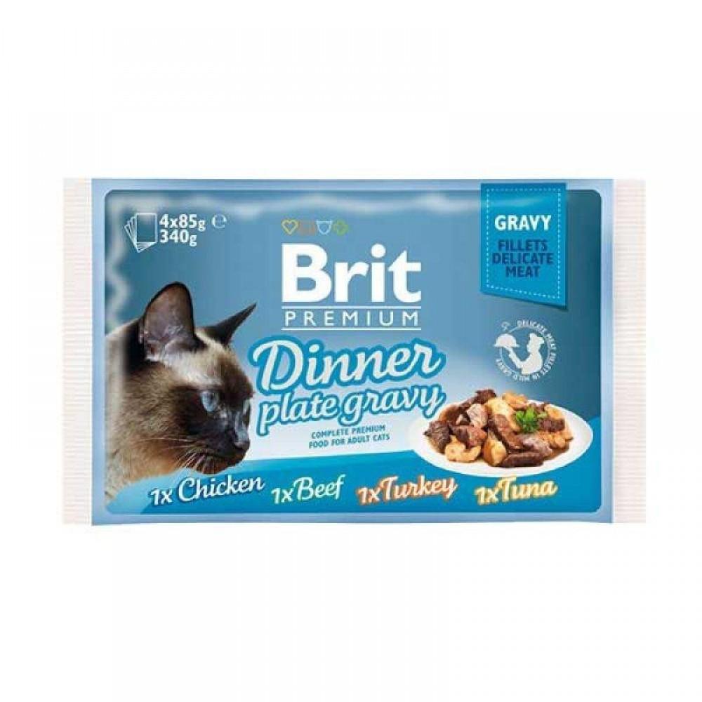 Корм для кошек Brit Premium Cat pouch Обеденная тарелка в соусе 4x85 г