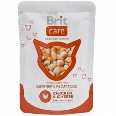 Brit Care pouch Влажный корм для котов с курицей и сыр 80г
