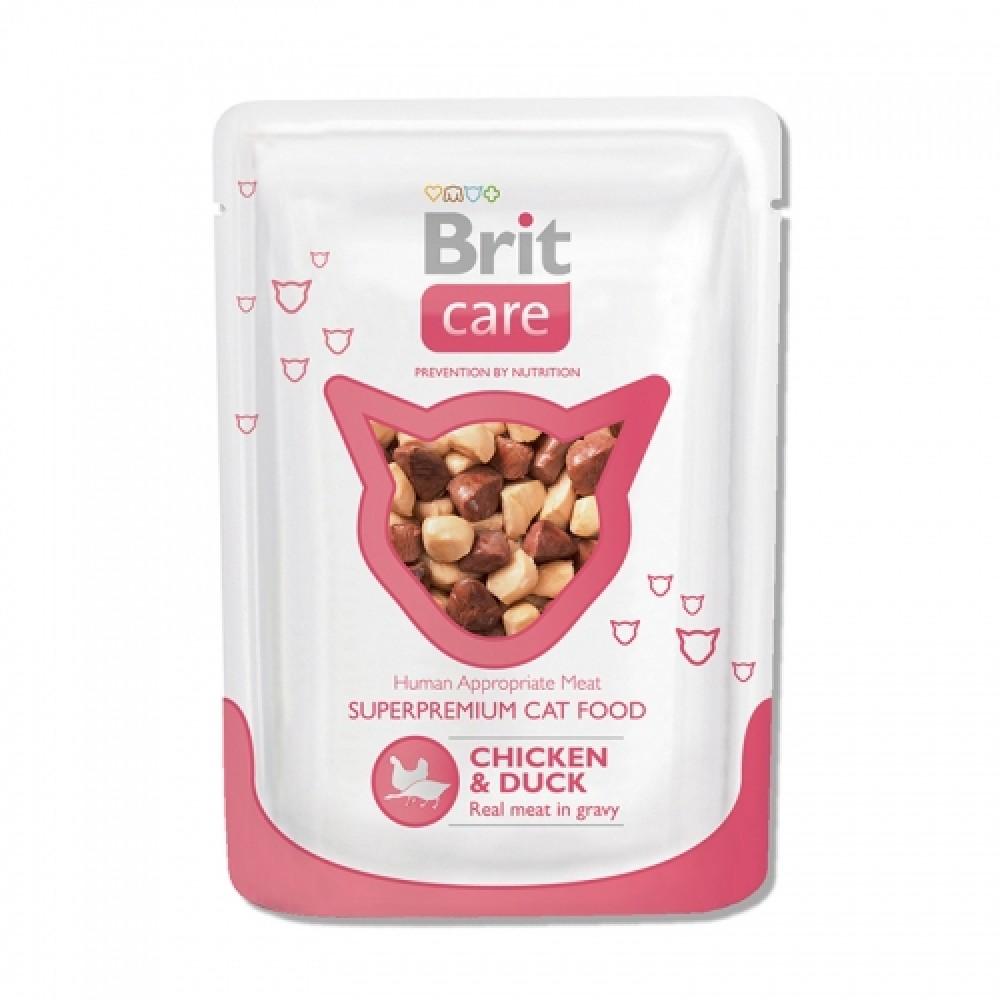 Brit Care pouch Влажный корм для котов с курицей и уткой 80г