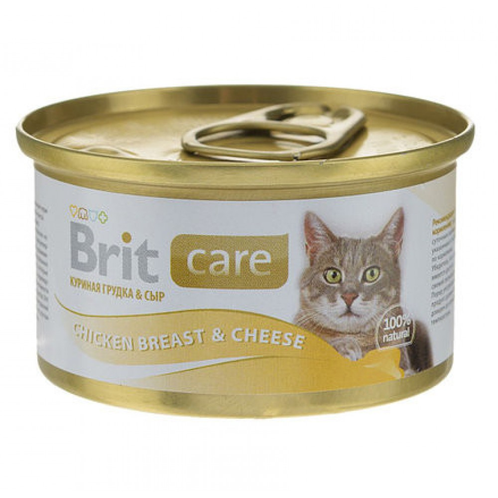 Brit Care Chicken Breast & Cheese для взрослых кошек, 80г