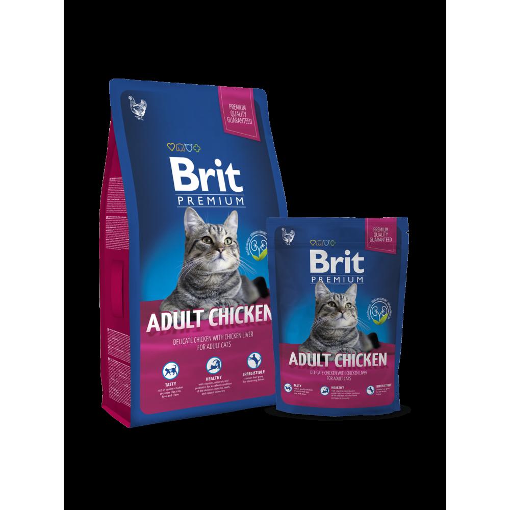 Сухой корм для взрослых кошек с курицей Brit Premium Adult Chicken