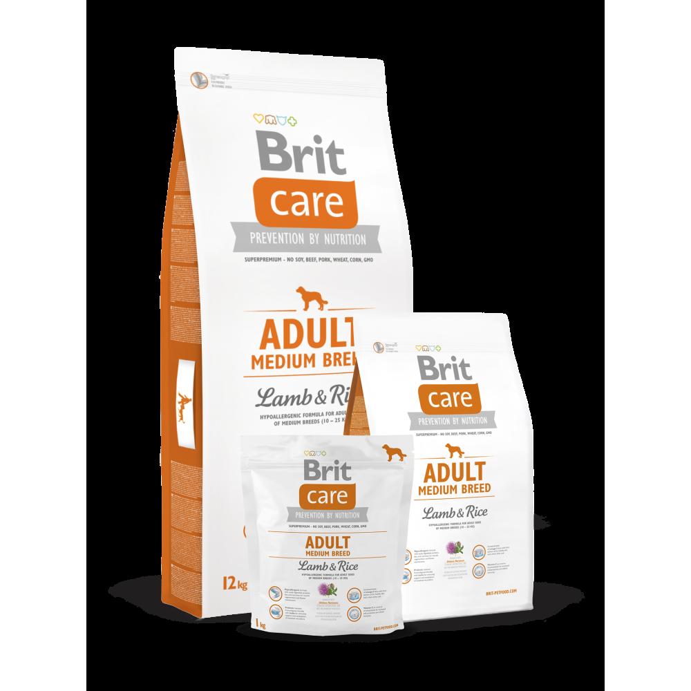 Сухой корм для взрослых собак средних пород Brit Care Adult Medium Breed Lamb & Rice