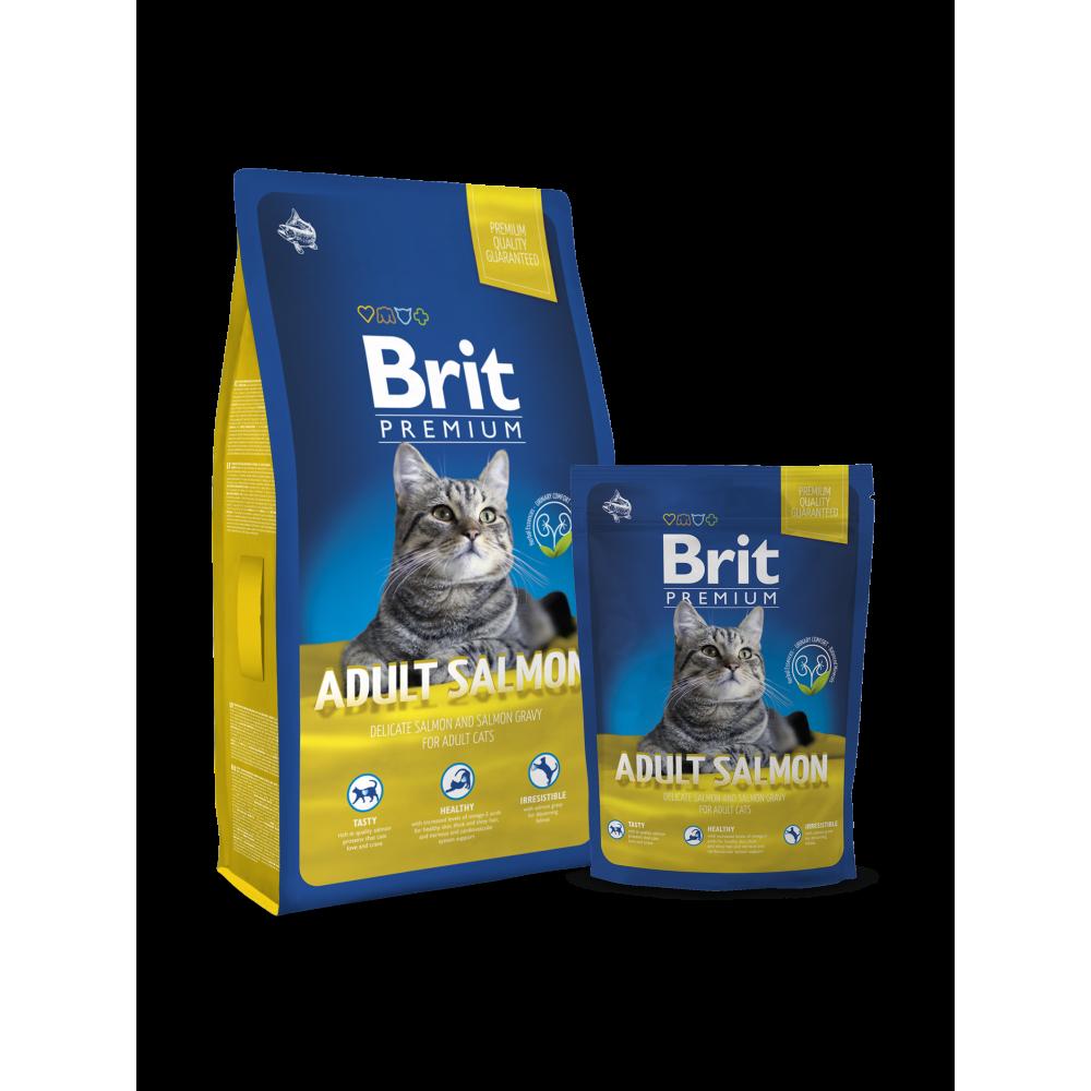 Сухой корм для взрослых кошек с лососем Brit Premium Adult Salmon