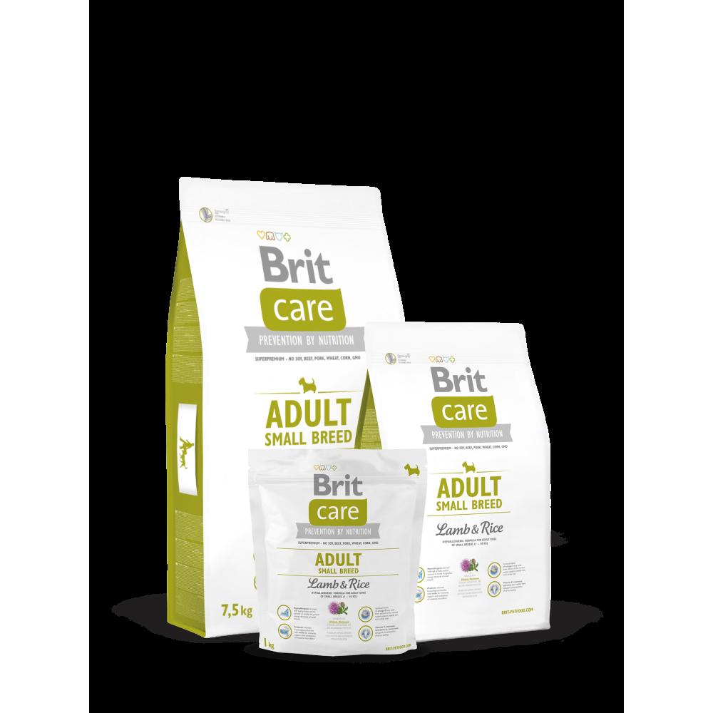 Сухой корм для взрослых собак мелких пород весом до 10 кг Brit Care Adult Small Breed Lamb & Rice