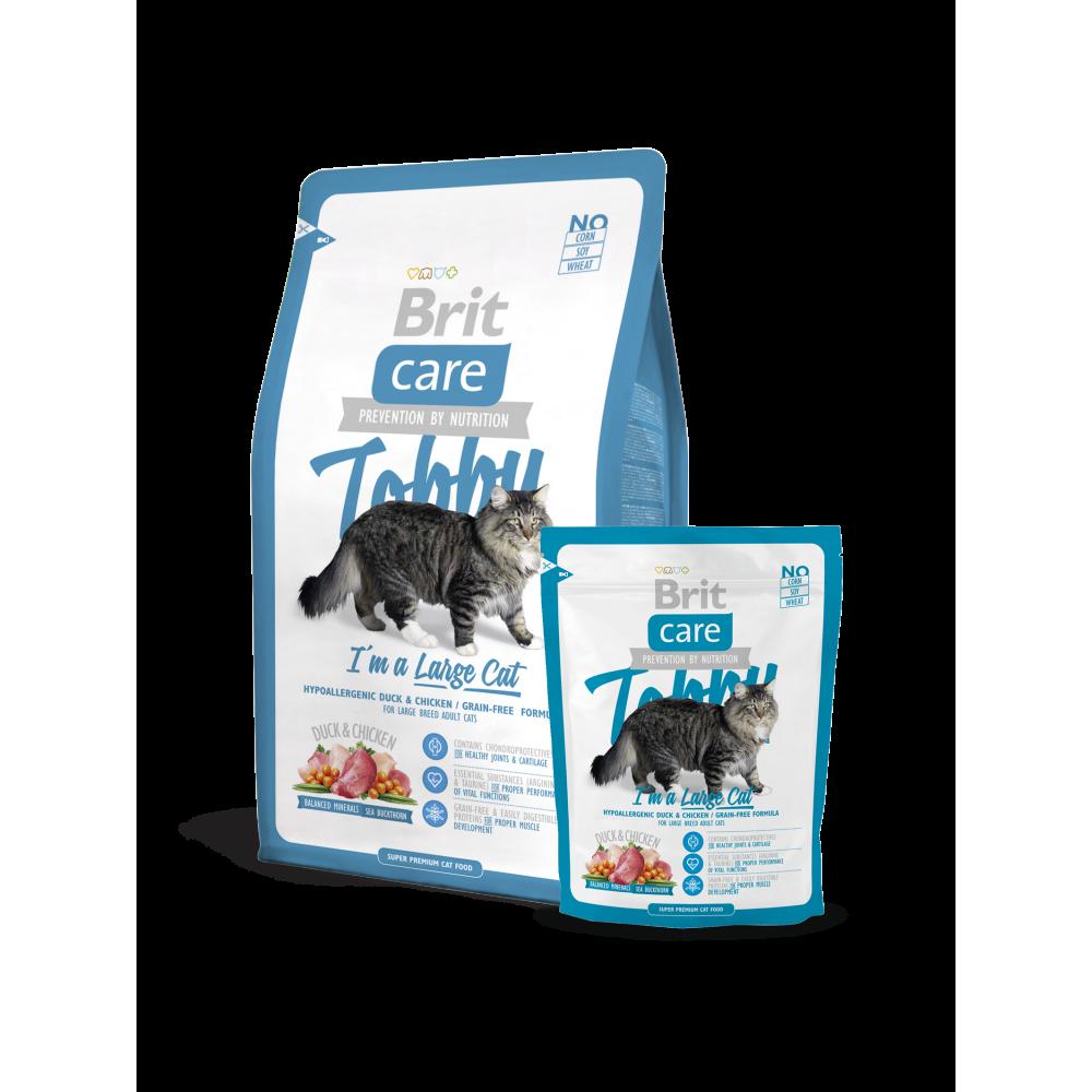 Сухой корм Brit Care Cat Tobby I am a Large Cat с уткой и курицей для кошек крупных пород