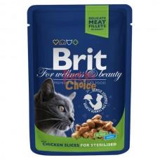 Brit Premium Cat (пауч) Кусочки в соусе с курицей для стерилизованных кошек