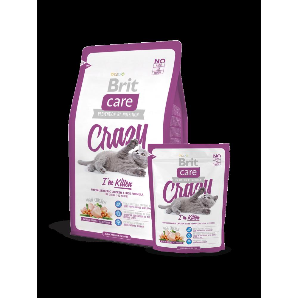 Сухой корм для котят Brit Care Crazy I am Kitten гипоаллергенный с курицей и рисом