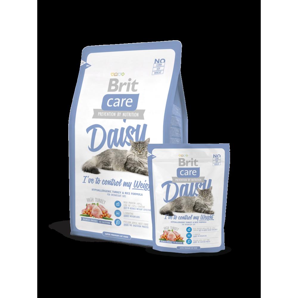 Сухой гипоаллергенный корм Brit Care Cat Daisy I've to control my Weight для кошек с избыточным весом с мясом индейки и рисом