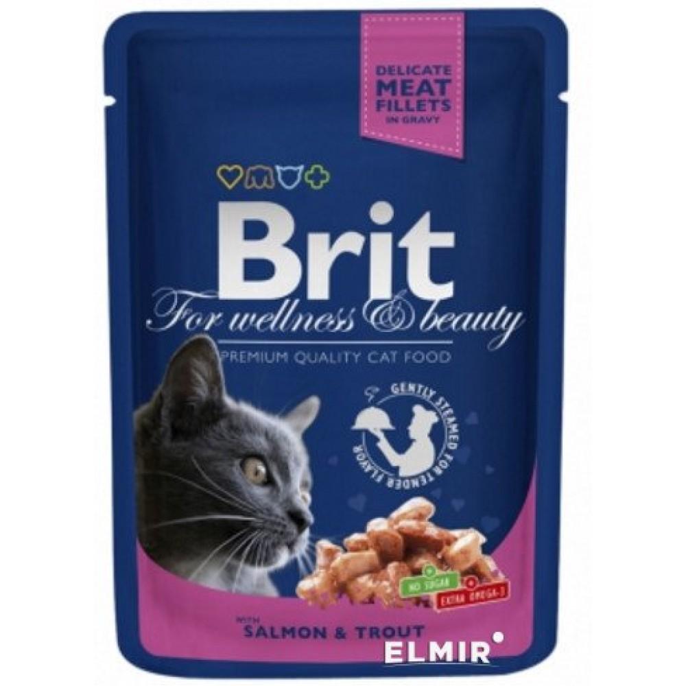 Brit Premium Cat (Брит Премиум Кэт) Пауч с ЛОСОСЕМ и ФОРЕЛЬЮ для кошек
