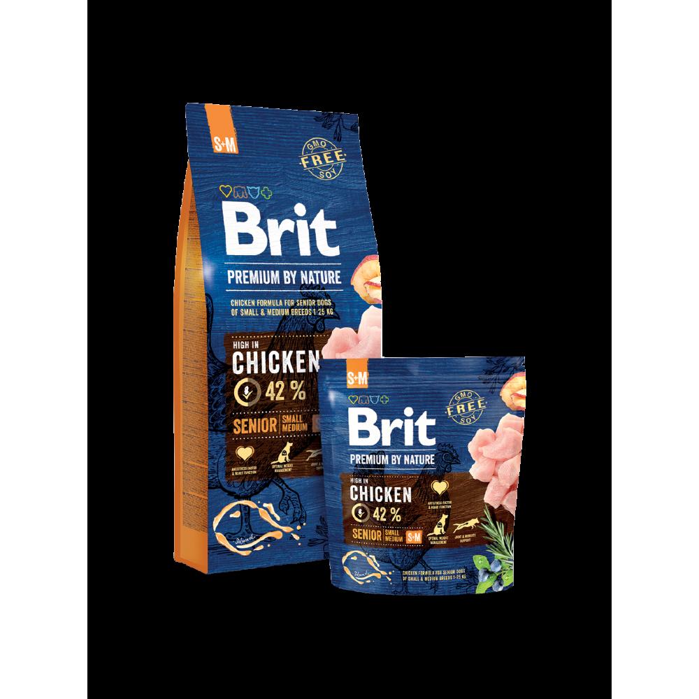 Сухой корм Brit Premium Senior S+M для пожилых собак мелких и средних пород со вкусом курицы