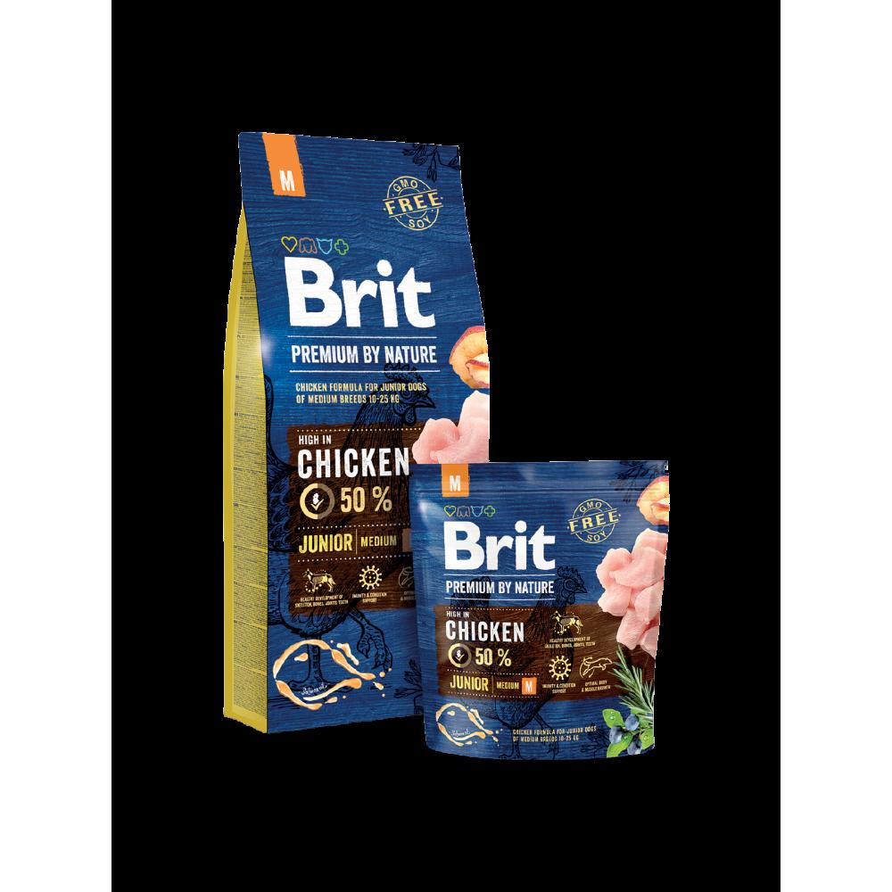 Сухой корм Brit Premium Junior M для щенков и молодых собак средних пород со вкусом курицы