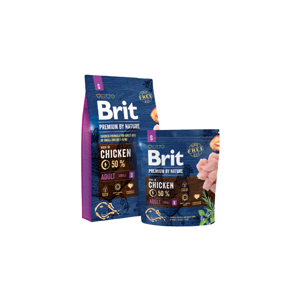 Сухой корм Brit Premium Adult S для взрослых собак мелких пород со вкусом курицы