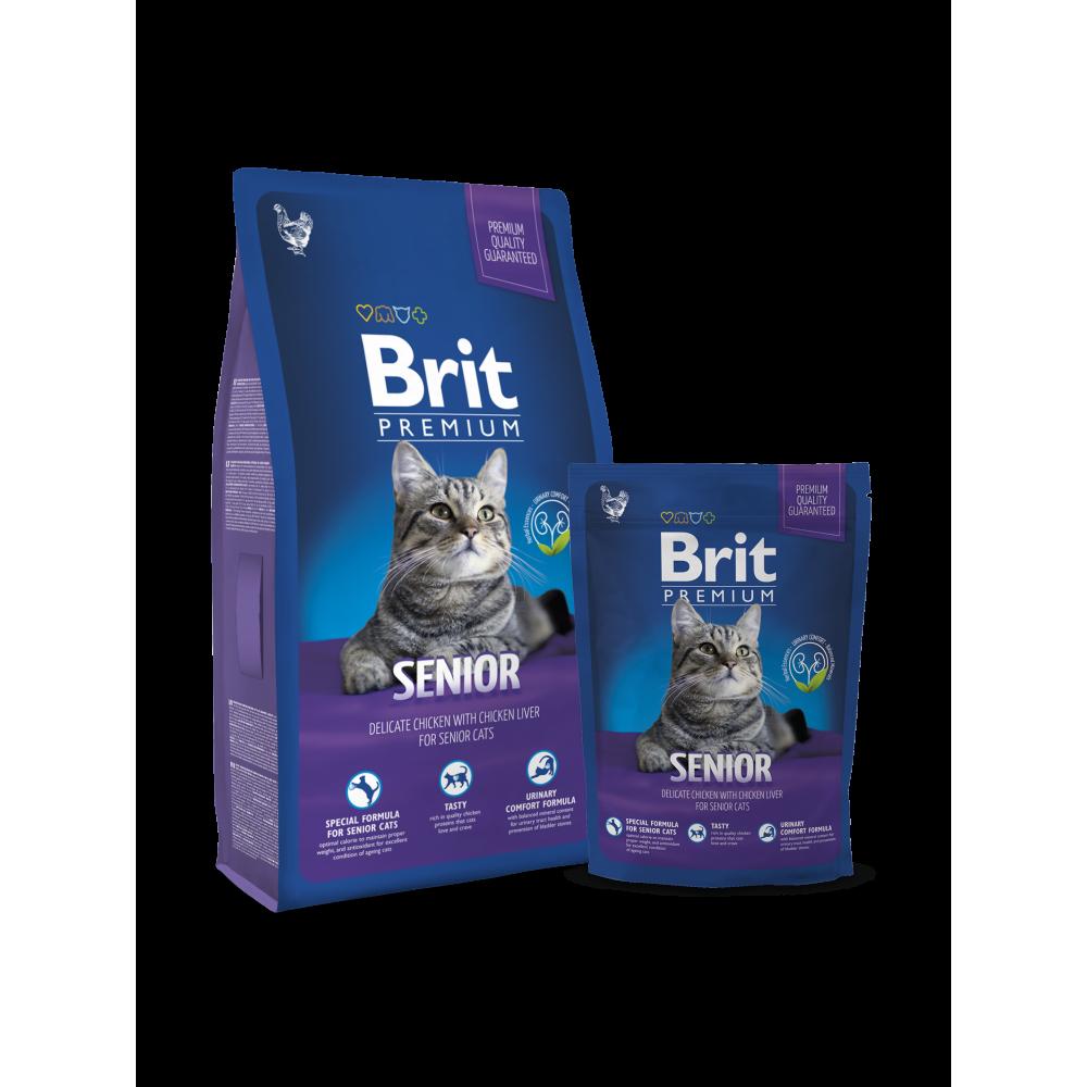 Сухой корм Brit Premium Cat Senior для пожилых кошек курица с соусом из куриной печени