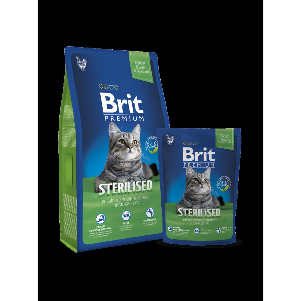 Сухой корм Brit Premium Cat Sterilized для стерилизованных кошек и кастрированных котов