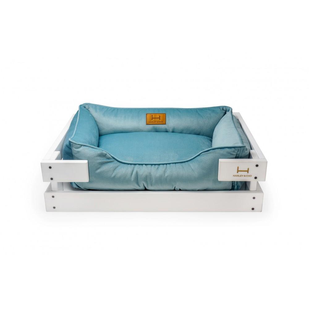 Лежак Dreamer Velur White + Blue