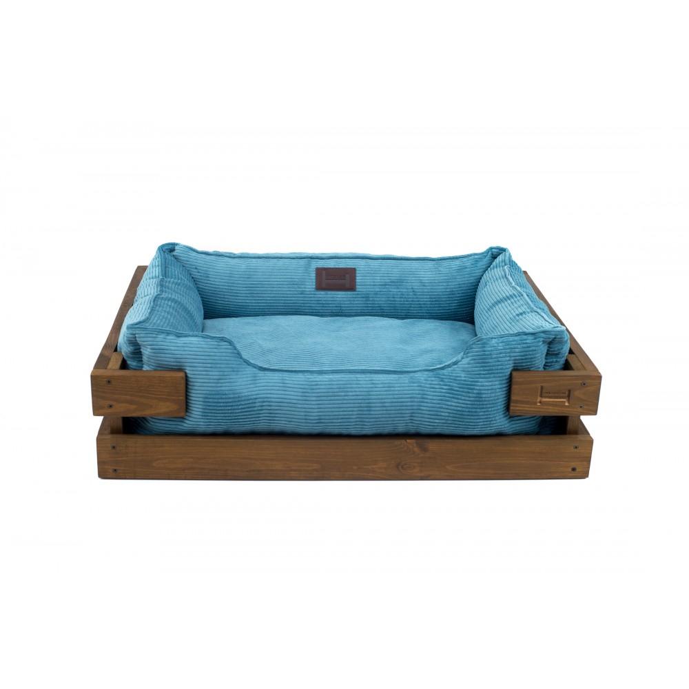 Лежак Dreamer Wood Nature + Blue Velvet