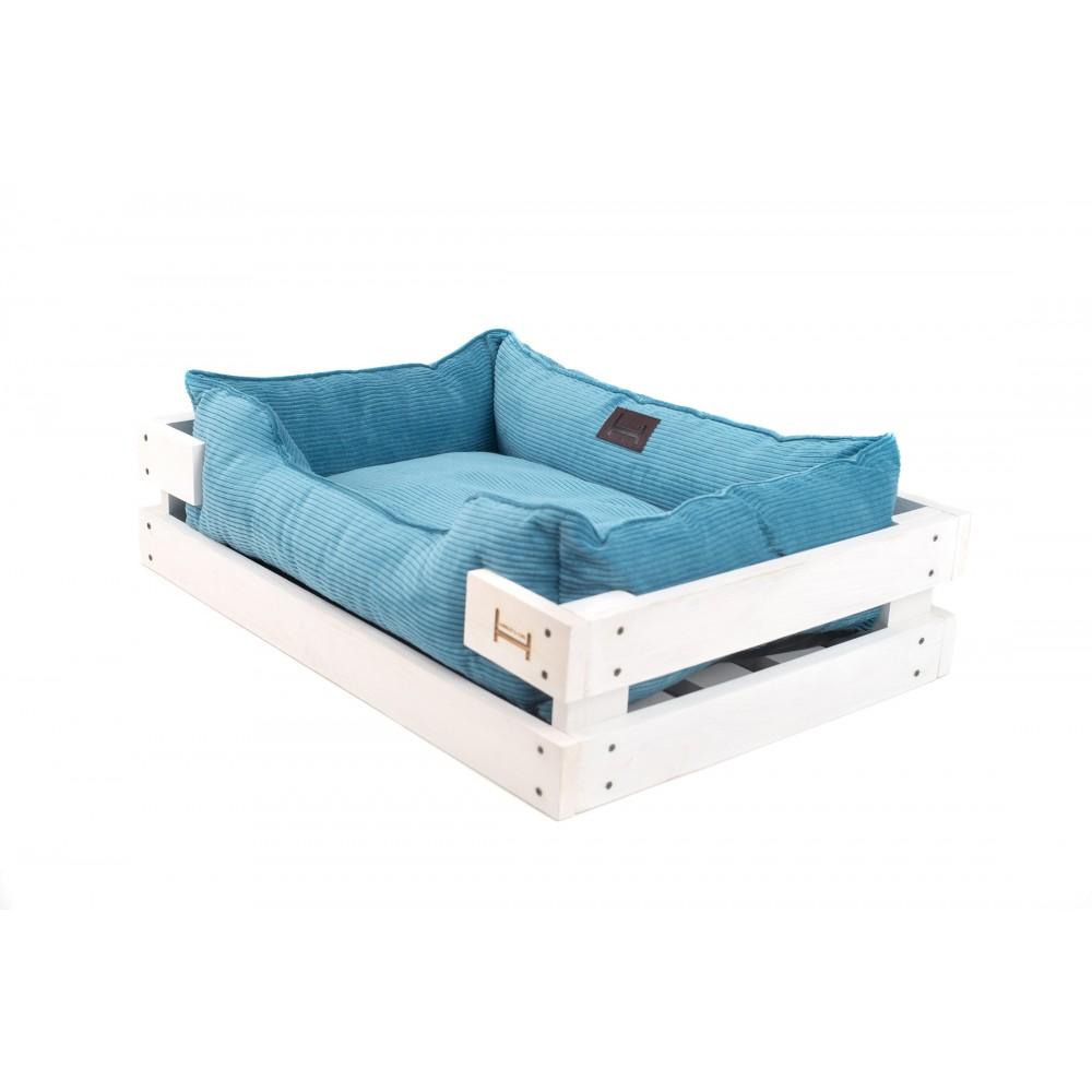 Лежак Dreamer Velvet White + Blue