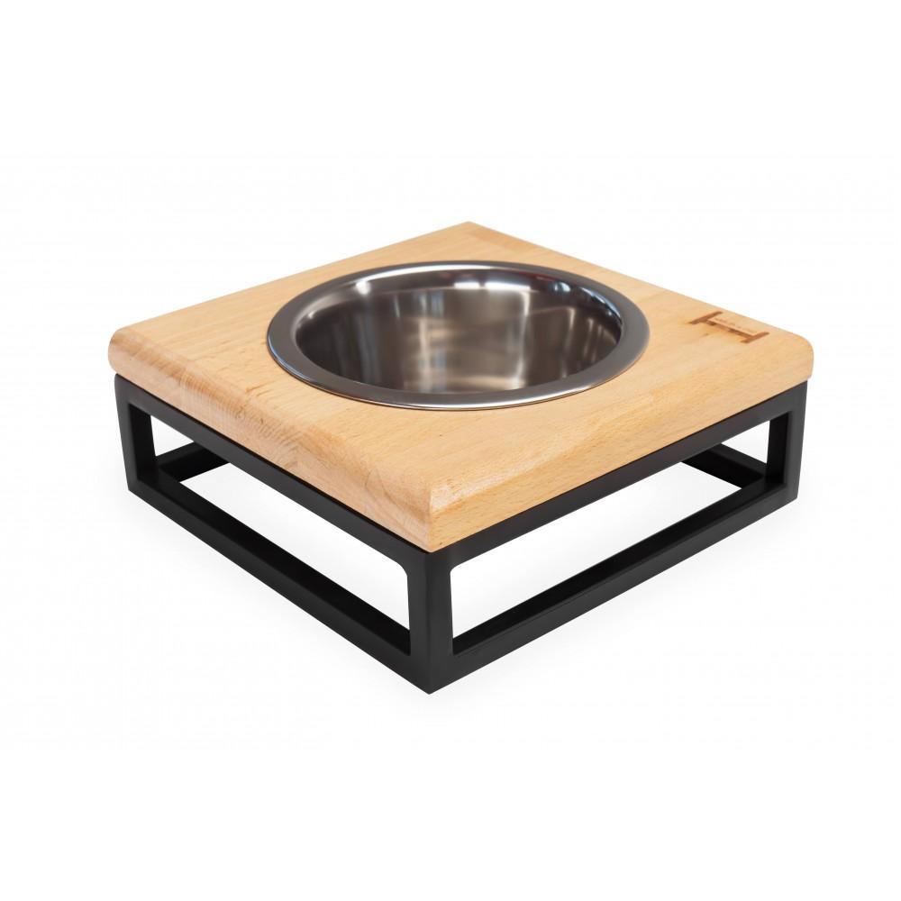 Одна миска на подставке Lunch Bar Natural wood + Black