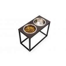 Миски на подставке Dinner Brown wood + Black